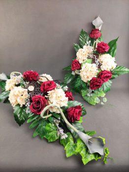 Komplet na cmentarz z kwiatów sztucznych